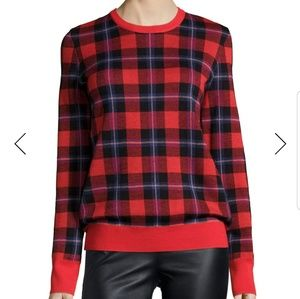 Shane Long Sleeve Plaid Crewneck Sweater M